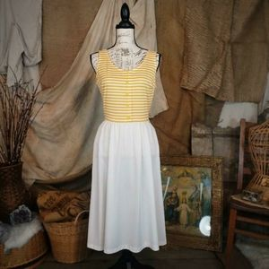 Vintage late 1960 yellow and white striped dress.